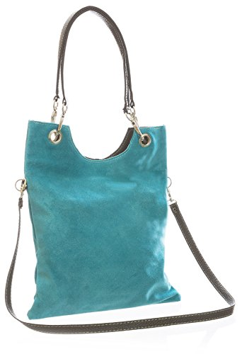 Big Handbag Shop Suede Leather Plain Top Handle Evening Clutch Shoulder Bag Turquoise (Fz575)