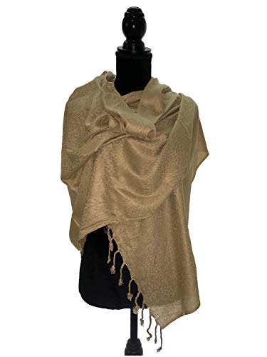 - Jacquard Paisley Pashmina Shawl Scarf Stole Soft Silky Pashmina Wrap in Solid Colors Fashion Fringe (Champagne Gold)
