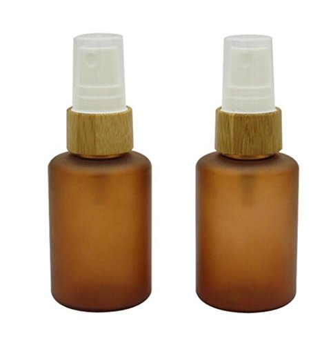 (2PCS 60ML 2oz Brown PET With Bamboo Head Empty Refillable Spray Bottle Jar Pot Atomizer Pump Bottles Travel Holder Water Perfume Liquid Cosmetic Essential Oil Accessories Containers)