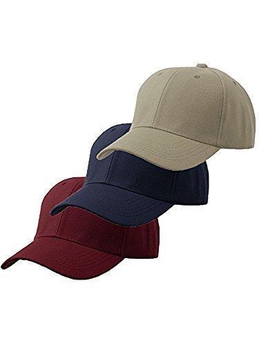 (Unisex Plain Structured Curved Visor Adjustable Velcro Baseball Cap Hat - 3-Pk Burgundy Navy Khaki)