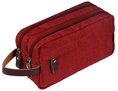 Men's Travel Toiletry Bag Dopp Kit - Dual Compartments with Handle (Rojo)