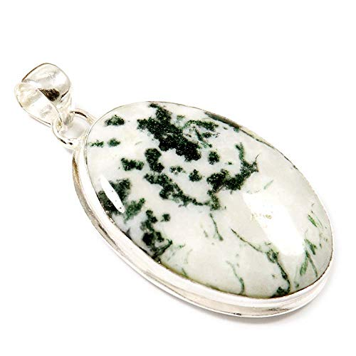 GoyalCrafts Silver Plated Fashion Jewelry, Natural Tree Moss Agate Gemstone Pendant GPO-51
