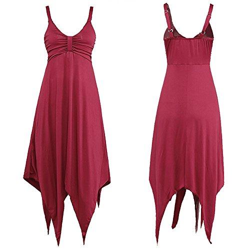 Halter Partido la Largas Antaina del Largo Red del de Asimétrica del Playa de Roja Fractura de Vestido Mujeres la Las Cóctel Profunda R67nRr
