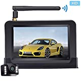 iStrong Backup Camera Wireless 4.3'' Monitor Kit for Car/SUV/Minivan Waterproof License Plate Rear View /Front View Camera 6 White Light LED Night Vision Guide Lines ON/OFF