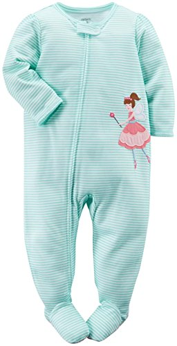 Carter's Baby Girls' Striped Graphic Footie (Baby) - Fairy Princess - (Fairy Princess Clothing)