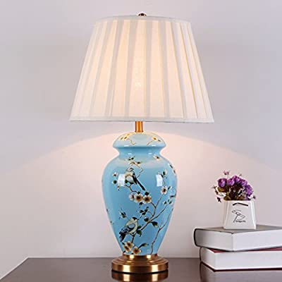 Kjvfk Flexo Flexo Escritorio Mesa de cerámica Flor Lampara Azul ...