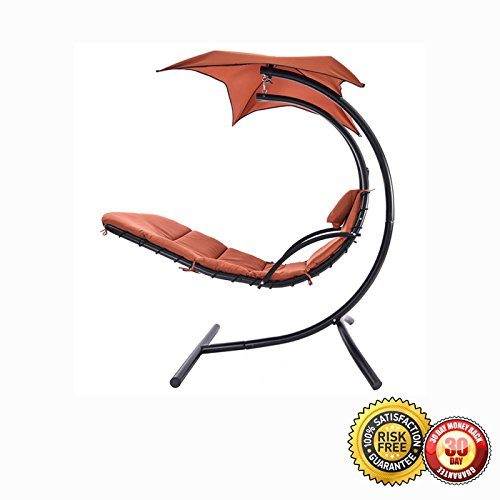 Hanging Steel Chaise Lounger Chair Arc Stand Swing Hammoc...