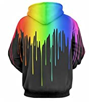 GLUDEAR Unisex Simulation 3D Rainbow Watercolor Paint Print Hoodie Sweatshirt,Black,M