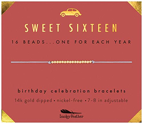 "Lucky Feather Sweet 16 Gold Tone Birthday Bracelet Gift for 16 Year Old Girls with 14K Dipped Beads on Adjustable 7""-8"" Cord"