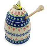 Polish Pottery Honey Jar with Dipper 5-inch Tulips And Diamonds