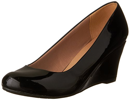 Mid Wedge Leather Toe Black Patent Faux Pumps Forever 23 Link DORIS Women's Heel Round XvBwYxC