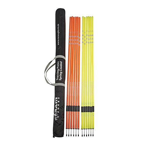 Ram Rugby Spring Loaded Speed and Agility Training Poles - Orange and Yello - 6 Feet Tall by Ram Rugby