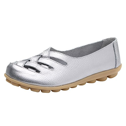 Verocara Women's Tanner Pebbled Leather Flats Boat Shoes Casual Shoes Driving Loafers Silver 7.5 B(M) US