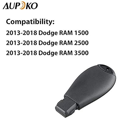 Aupoko GQ4-53T 4 Buttons Keyless Entry Remote Key Fob, Replace# 56046955,56046955AG, 56046955AA, 56046955AB, Fits for 2013-2020 Dodge Ram 1500 2500 3500: Automotive