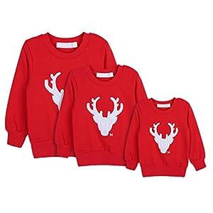 Gyratedream Sweat Femme Homme Enfants Famille T-Shirt Manches Longues Imprimé Noël Tops Christmas Sweater 11