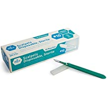 Medpride Disposable Scalpel Blades| #10 Sharp, Tempered Stainless-Steel Blades | Pack of 10 Sterile Scalpel Knives| Plastic Handle| Individual Pouches| for Dermaplaining, Podiatry, Crafts & More