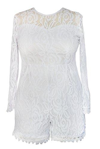 Roswear Women's Plus Size Round Neck Long Sleeve Lace Romper Dress (XX-Large, White)