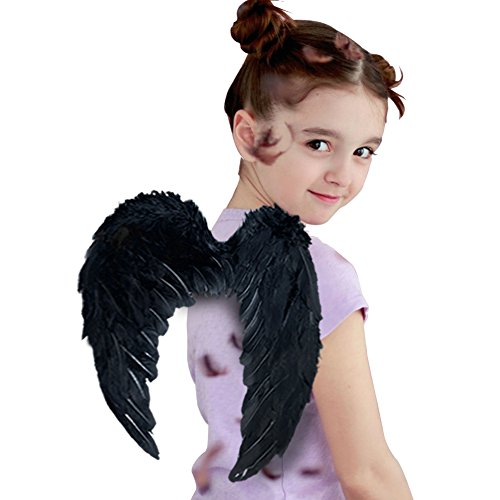 Bird Wings Costume (Angel Wing Feather Halloween Costume Party, Cosplay Christmas Wings for Kids Children, Black Small)