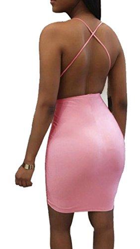 Jaycargogo Femmes Sexy Sangle Spaghetti Sequin Cou V Profond Voir À Travers Des Robes Moulantes Club Rose