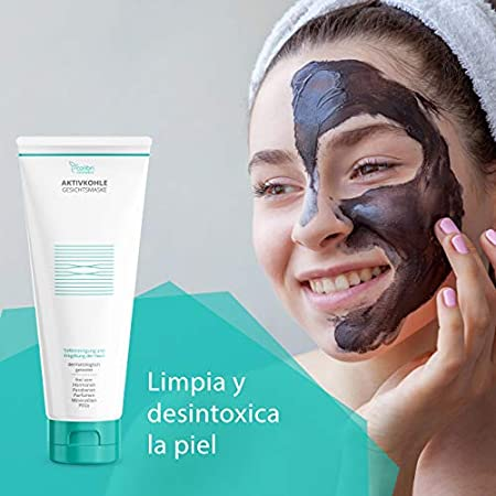 Exfoliante facial de carbón activado con 2% de ácido salicílico (BHA) - limpia el rostro y reduce los poros - mascarilla de limpieza profunda con sales del mar Muerto, fabricado en Alemania