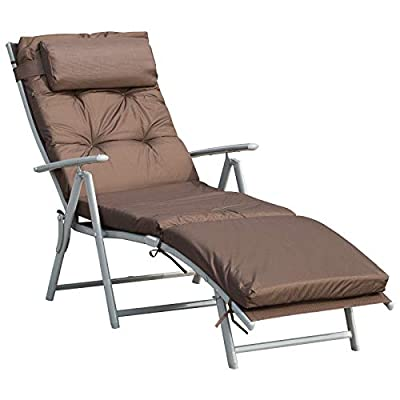 Outsunny Patio Sun Lounger Chair Textilene with Cushion Brown