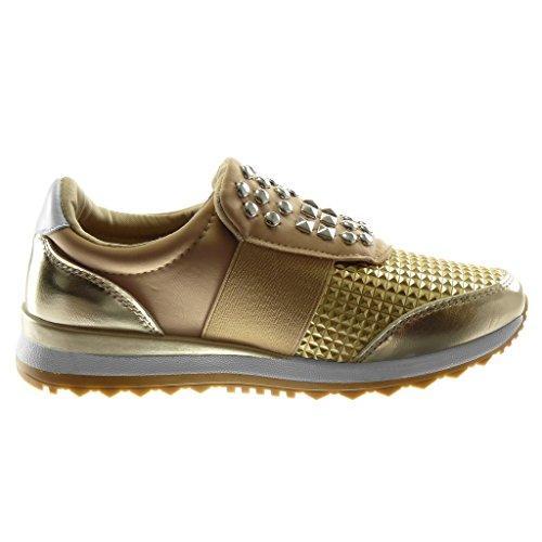 Keilabsatz Glänzende Damen Schuhe On Sneaker Elastisch Slip Sporty Tennis Keilabsatz Gold cm Chic Besetzt Nieten 3 Angkorly FOpPdnwqp