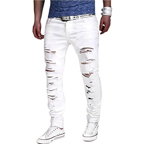 9f82503e98 durable modeling Mstyle Mens Fashion Slim Fit Ripped Broken Holes Denim  Jeans Pants