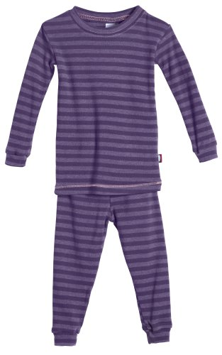 City Threads Boys and Girls Pajama Set Thermal PJ Poly Cotton Long John Fottie Long Sleeve Made in USA, Purple Stripe, - Pr Usa