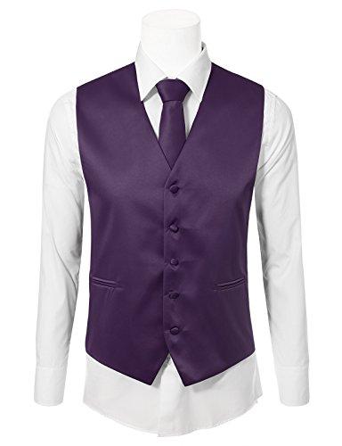 JD Apparel Men's 3 Pieces Tie Solid Formal Tuxedo Vest Tie 4XL (Colored Tuxedo Vests)