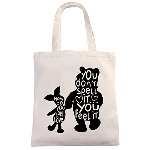 How Do You Spell Halloween (Winnie The Pooh Quotes How Do You Spell Love Tote Bag   Classic Pooh Best Friend Gift   Natural Cotton Canvas 12 Oz Reusable Tote)