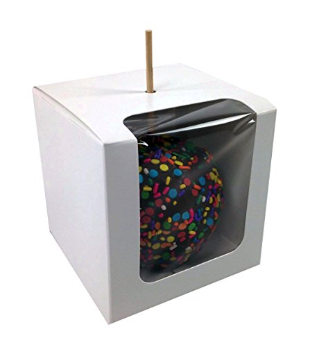 Black Cat Avenue 4''x4''x4'' White Windowed Candy Apple Box, 20 Pack by Black Cat Avenue