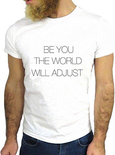 T SHIRT JODE Z1880 BE YOU WORLD WILL ADJUST MINIMAL FUN COOL FASHION NICE GGG24 BIANCA - WHITE XL