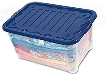 Duplast 7615 Caja y Cesta de almacenaje - Cajas y cestas de almacenaje (Storage Box, Azul, Transparente, Monótono, Rectangular): Amazon.es: Hogar