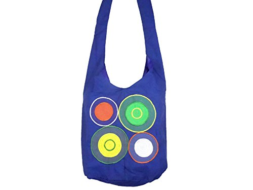 Borsa tracolla etnica Borsa a tracolla mano cotone Ethnik Bag spirale blu
