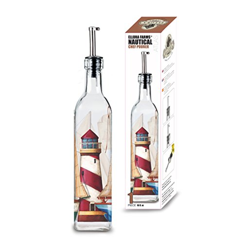 Lighthouse Wine - Ellora Farms | Atlas Chef Pourer | Oil & Vinegar dispenser | Lighthouse Painted | Suitable for Oil, Vinegar, Salad dressings | Capacity 16 fl oz.