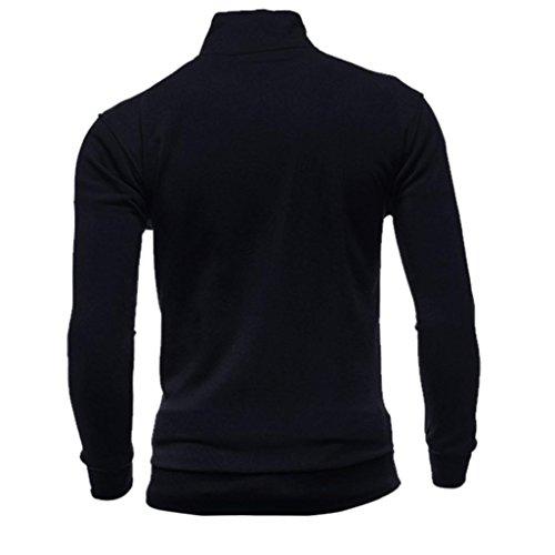 Cardigan Nero Byste Felpe Uomo Autunno Sport Cappotto Giacca Di Sweatshirts Cerniera Svago Top wOORnAxq