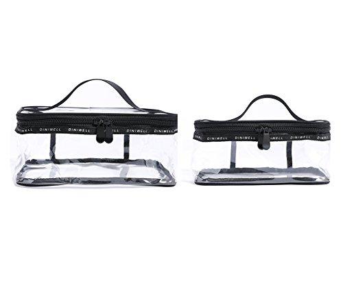Pvc Ports (Vercord Simple Clear PVC Toiletry Bag Travel Waterproof Carry-On Airport Compliant TSA Approved Quart Handle Toiletry Sponge Bag, 2 Set Black M L)