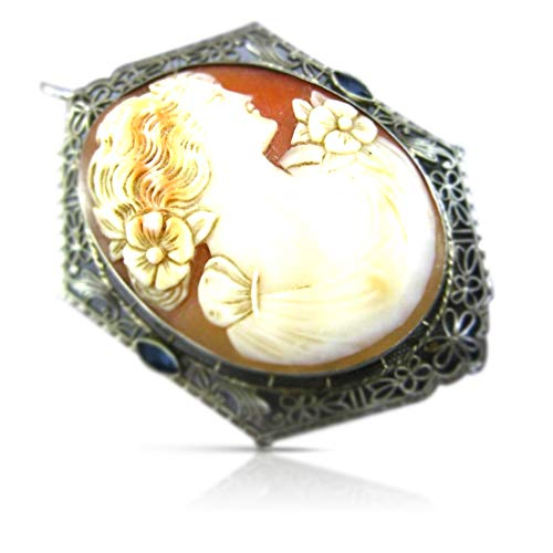 Milano Jewelers Large .09CT AAA Sapphire 14KT White Gold Lady Cameo Brooch Pendant -