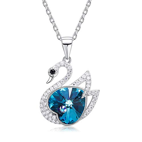 Lucky Diamond Charms - Derminpro 925 Sterling Silver Blue Heart swan Pendant Necklace Made with Swarovski Crystals (Blue-Silver)