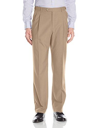 Palm Beach Men's Expander Pleat Dress Pant Washable, Camel, 31W Regular