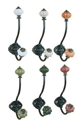6 Single Wall Hooks with Knobs