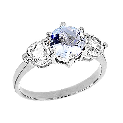 Modern Contemporary Rings Elegant 10k White Gold Genuine Aquamarine with White Topaz Engagement/Proposal Ring (Size 10)