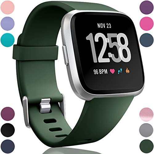 Wepro Replacement Bands Compatible with Fitbit Versa SmartWatch, Sports Watch Band for Women Men, Large, Dark Green