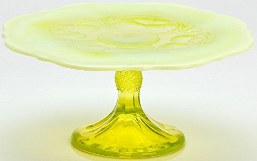 Cake Plate - Inverted Thistle - Mosser Glass - USA - Small (Vaseline Opalescent)
