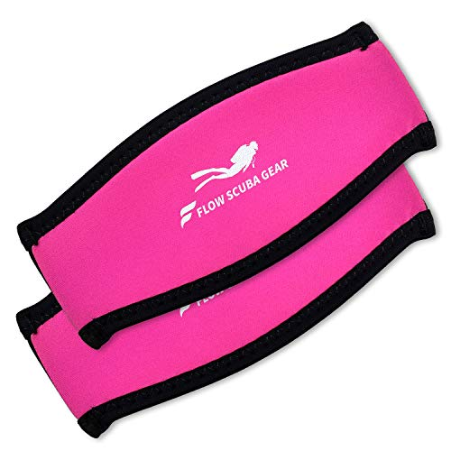 Flow Scuba Gear - Neoprene Cover for Dive and Snorkel Mask Strap (Pink 2-Pack)