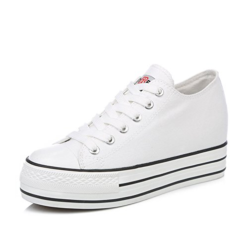zapatos de lona de mujeres/Otoño clásico aumentó zapatos del estudiante plataforma stealth/Color puro con baja zapatos mujeres C