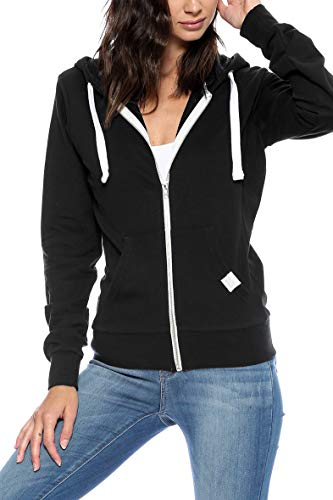 (Urban Look Womens Basic Lightweight Stretch French Terry Zip up Hoodie (Small, A Black))