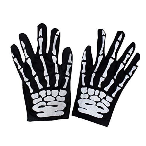LUOEM Skull Gloves Unisex Winter Bone Claw Skeleton Ghost Full Finger Gloves Warm Cycling Glove for Hallowen Christmas Outdoor Sports(Random Pattern)