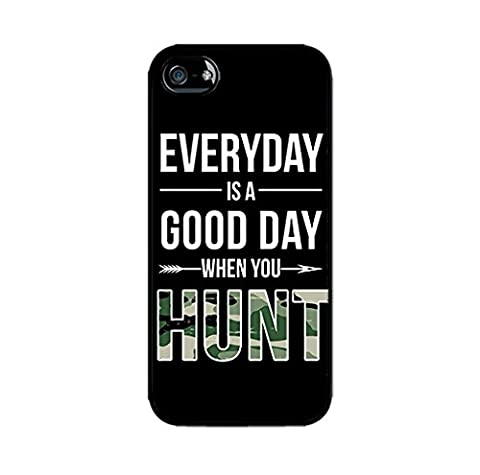 Hunting iPhone 5C Case-Everyday is A Good Day When You Hunt-Quote in Black Camouflage Case Cover Hard Plastic Black (Cheap Speck Case For Iphone 5c)