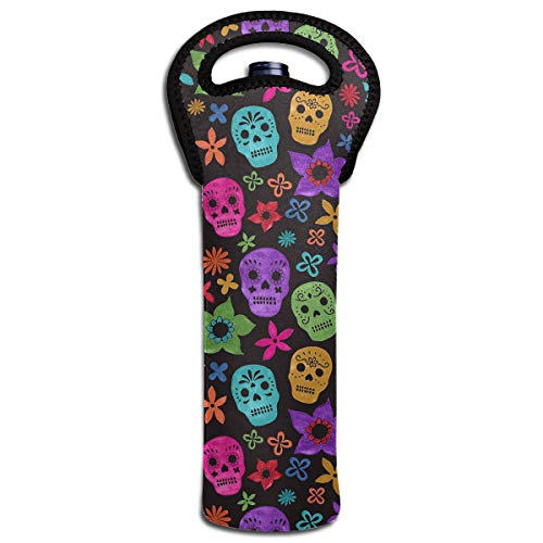 (Wine Carrier Halloween Wallpaper Skull 1 Bottle Neoprene Wine/Water Insulated Tote Bag for Picnic Home Airplane Travel )